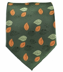 Olive Green and Orange Men's Tie