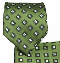 Olive Green Necktie and Pocket Square Set