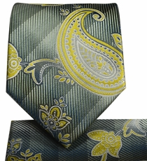 Olive Green Paisley Necktie and Pocket Square