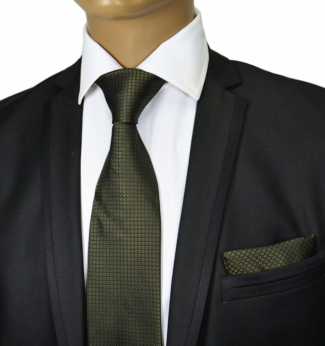Olive Green Silk Tie Set By Paul Malone