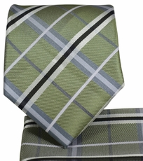 Olive Plaid Necktie and Pocket Square