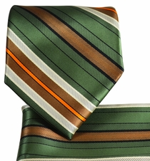 Olive Striped Necktie and Pocket Square