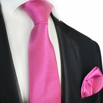 Opera Mauve 7-fold Silk Tie and Pocket Square Set