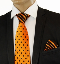 Orange a. Black Contrast Knot Tie Set by Steven Land