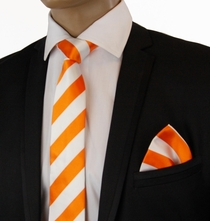 Orange a. White Slim Silk Tie Set by Paul Malone