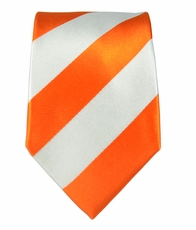 Orange a. White Slim Tie by Paul Malone . 100% Silk