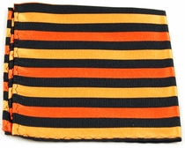 Orange and Black Pocket Square . 100% Silk (H883)