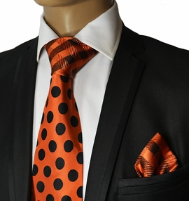 Orange and Black Steven Land Silk Tie Set