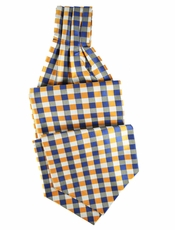 Orange and Blue Ascot Tie and Pocket Square