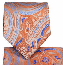 Orange and Blue Necktie and Pocket Square