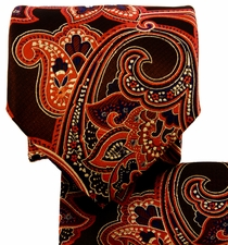 Orange and Blue Paisley Necktie and Pocket Square (Q569-P)