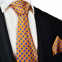 Orange and Blue Paul Malone Silk Tie and Pocket Square
