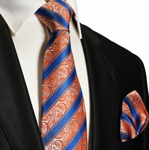 Orange and Blue Silk Tie and Pocket Square . Paul Malone Red Line