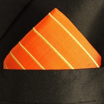Orange and Gold Pocket Square . 100% Silk (H884)