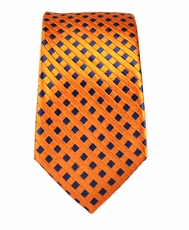 Orange and Navy Slim Tie by Paul Malone . 100% Silk