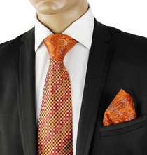 Orange Contrast Knot Silk Tie Set by Steven Land