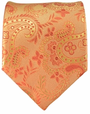Orange Gold Paisley Paul Malone Silk Necktie (916)