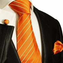 Orange & Gold Paul Malone Silk Tie Set (884CH)