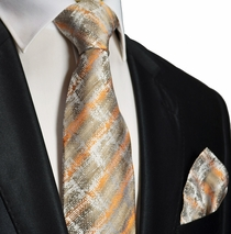 Orange Gold Silk Tie and Pocket Square . Paul Malone Red Line