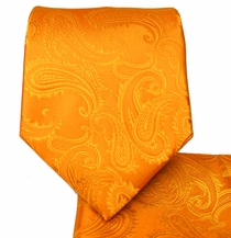 Orange Paisley Necktie and Pocket Square Set (Q600-EE)