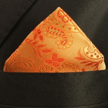 Orange Paisley Pocket Square . 100% Silk (H916)