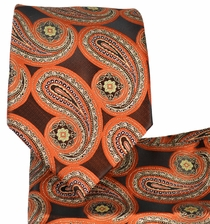 Orange Paisley Tie and Pocket Square Set