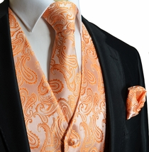 Orange Paisley Tuxedo Vest Set (Q20-M)