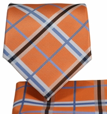 Orange Plaid Necktie and Pocket Square