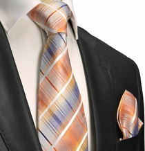 Orange Plaid Silk Tie Set . Paul Malone Red Line