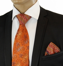 Orange Steven Land Contrast Knot Silk Tie Set
