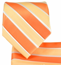 Orange Striped Necktie and Pocket Square