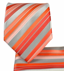 Orange Striped Necktie and Pocket Square Set