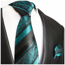 Pacific Blue and Black Silk Tie Set by Paul Malone Red Line