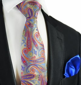 Paisley 7-fold Silk Tie and Pocket Square by Paul Malone