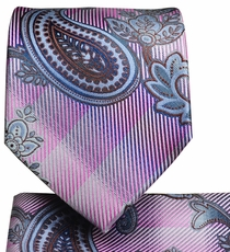 Pale Pink Paisley Tie and Pocket Square Set