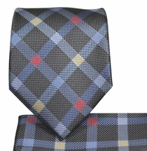Plaid Necktie and Pocket Square Set