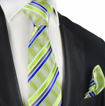 Parrot Green Striped Silk Tie and Pocket Square by Paul Malone