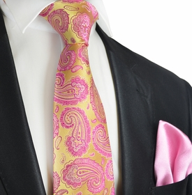 Rosebud and Gold Paul Malone 7-fold Silk Tie and Pocket Square