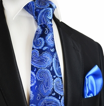 Dress Blues Paul Malone 7-fold Silk Tie and Pocket Square Set