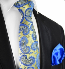 Misted Yellow and Blue Paul Malone 7-fold Silk Tie Set