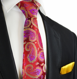 Tango Red Paisley Paul Malone 7-fold Tie and Pocket Square Set