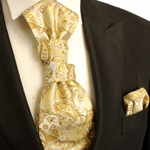 Paul Malone Cravat Set, Gold Paisleys (PLV16H)