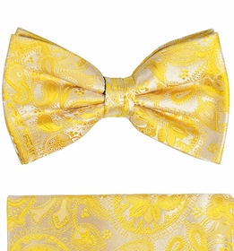 Paul Malone Bow Tie and Pocket Square . 100% Silk . Yellow Paisleys (BT427H)
