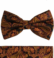Paul Malone Bow Tie and Pocket Square Set . 100% Silk (BT630H)