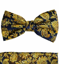 Paul Malone Bow Tie and Pocket Square Set . 100% Silk (BT683H)