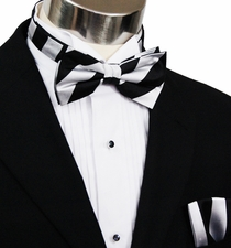 Paul Malone Bow Tie and Pocket Square Set . Black and Silver Stripes . 100% Silk (BT832H)