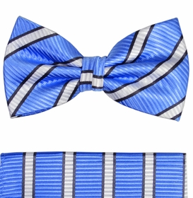 Paul Malone Bow Tie and Pocket Square Set . Blue, Black and White Stripes . 100% Silk (BT241H)