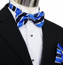 Paul Malone Bow Tie and Pocket Square Set . Blue, Navy and White Stripes  . 100% Silk ( BT454H)