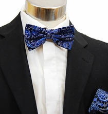 Paul Malone Bow Tie and Pocket Square Set . Blue Paisleys (BT914H)