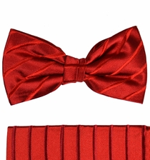 Paul Malone Bow Tie and Pocket Square Set . Burgundy Red . 100% Silk (BT441H)